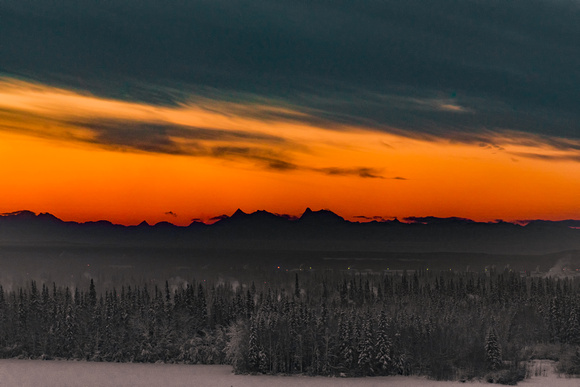 Before Sunrise Over the Alaskan Range at -30 Below 0, Fairbanks, Alaska