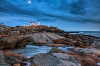 Moon Rising Over Nubble Lighthouse, York, Maine